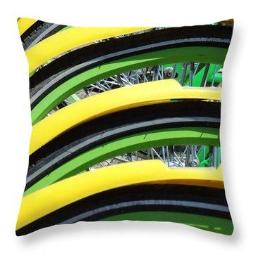 Yellow Bike Fenders Throw Pillow