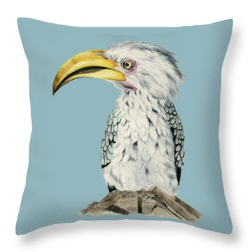 Yellow-billed Hornbill Watercolor Painting Throw Pillow by NamiBear