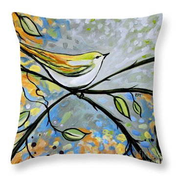 Yellow Bird Among Sage Twigs Throw Pillow