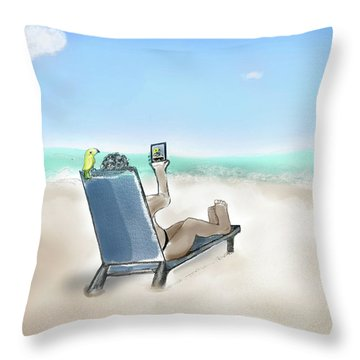 Yellow Bird Beach Selfie Throw Pillow
