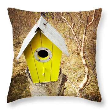 Yellow Bird House Throw Pillow