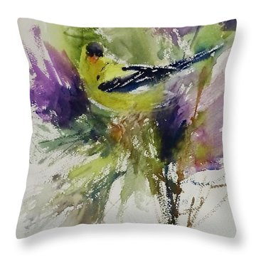 Yellow Bird In The Thistles Throw Pillow