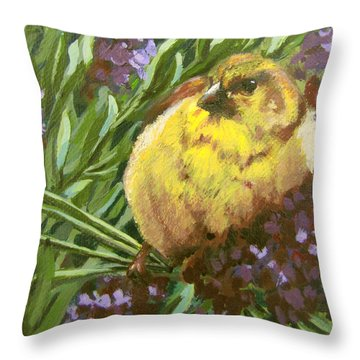 Throw Pillow featuring the painting Yellow Bird by Karen Ilari