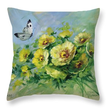 Yellow Blossoms And Butterfly Throw Pillow by David Jansen