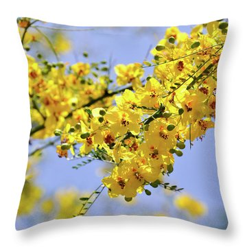 Yellow Blossoms Throw Pillow