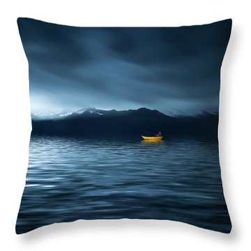 Throw Pillow featuring the photograph Yellow Boat by Bess Hamiti
