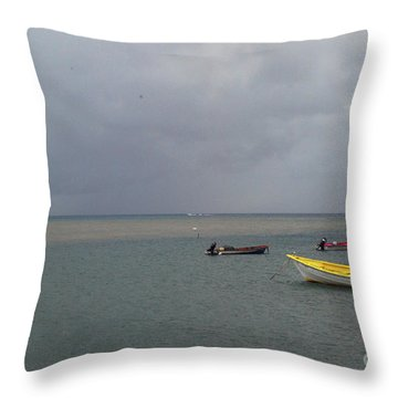 Throw Pillow featuring the photograph Yellow Boat by Gary Wonning