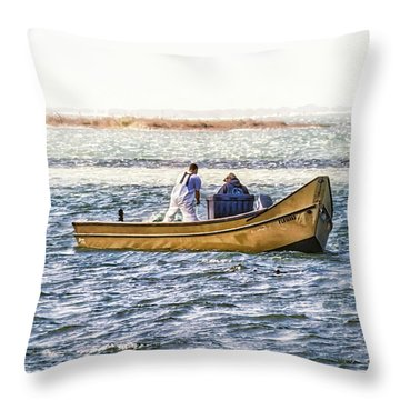 Yellow Boat - Throw Pillow