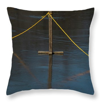Throw Pillow featuring the photograph Yellow Boundary On Ice by Gary Slawsky