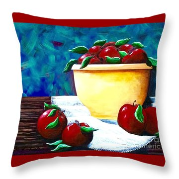 Yellow Bowl Of Apples Throw Pillow by Jennifer Lake