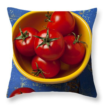 Yellow Bowl Of Tomatoes  Throw Pillow by Garry Gay