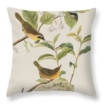 Yellow-breasted Warbler Throw Pillow by John James Audubon