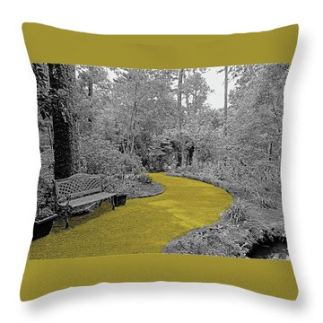 Yellow Brick Gardens Walkway Throw Pillow