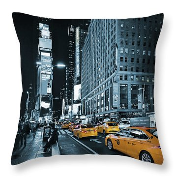 Yellow Broadway At Night - Nyc Throw Pillow
