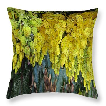 Yellow Buds Throw Pillow by Tim Allen