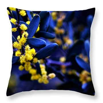 Yellow Bursts In Blue Field Throw Pillow