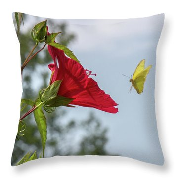 Yellow Butterfly Art Throw Pillow