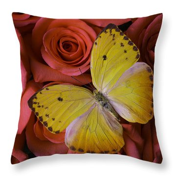 Yellow Butterfly Resting On Roses Throw Pillow