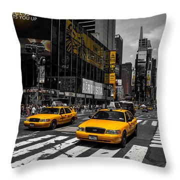 Yellow Cabs Cruisin On The Times Square  Throw Pillow