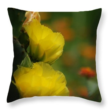 Throw Pillow featuring the photograph Yellow Cactus Flower by Donna Bentley