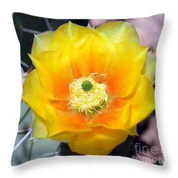 Yellow Cactus Flower Throw Pillow