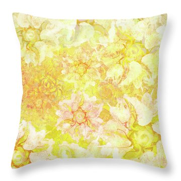 Yellow Camellia Hedges Throw Pillow