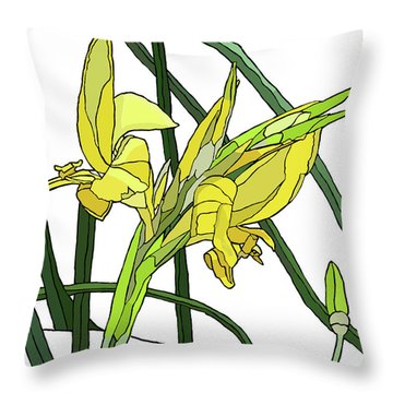 Yellow Canna Lilies Throw Pillow by Jamie Downs
