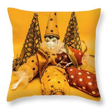 Yellow Carnival Clown Doll Throw Pillow