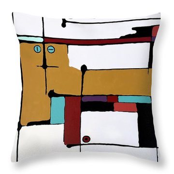 Yellow Cat And Four Kittens Throw Pillow