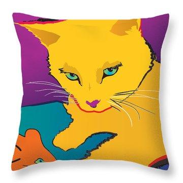 Yellow Cat Throw Pillow