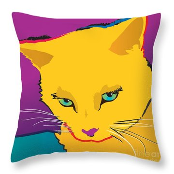 Yellow Cat Square Throw Pillow
