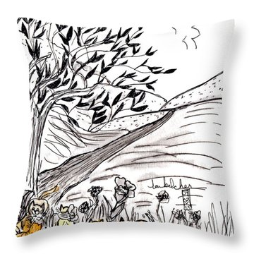 Yellow Cats Throw Pillow
