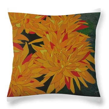 Throw Pillow featuring the painting Yellow Chrysanthemums by Hilda and Jose Garrancho