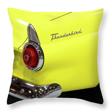 Yellow Classic Thunderbird Car Throw Pillow