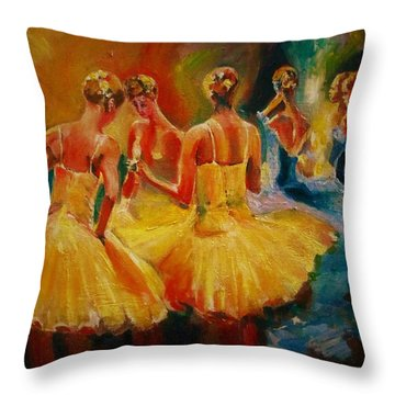 Yellow Costumes Throw Pillow by Khalid Saeed