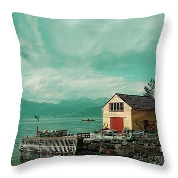 Yellow Cottage Throw Pillow