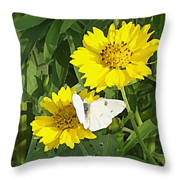 Yellow Cow Pen Daisies Throw Pillow