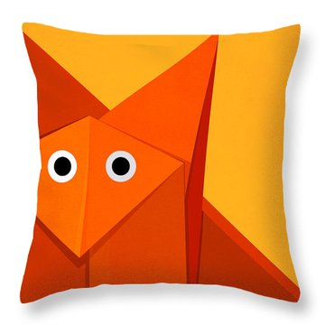 Yellow Cute Origami Fox Throw Pillow