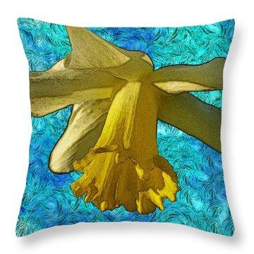 Yellow Daffodil 3 Throw Pillow by Jean Bernard Roussilhe