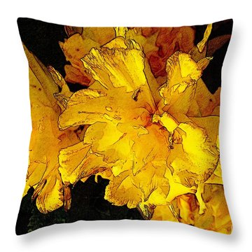 Yellow Daffodils 4 Throw Pillow by Jean Bernard Roussilhe