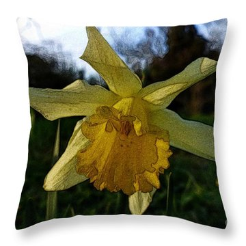Yellow Daffodils 5 Throw Pillow by Jean Bernard Roussilhe