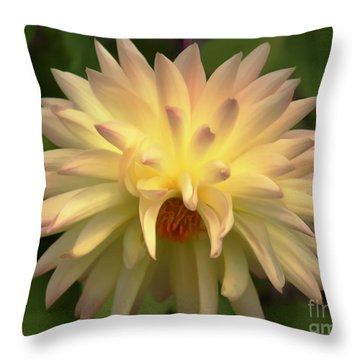 Yellow Dahlia Throw Pillow by Erica Hanel