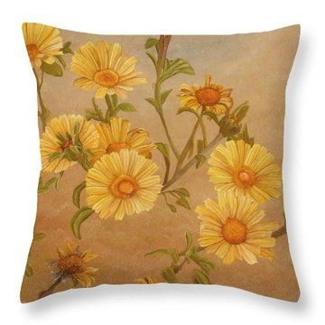 Throw Pillow featuring the painting Yellow Daisies by Angeles M Pomata