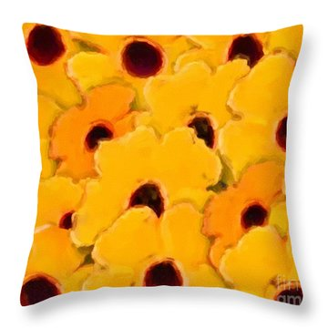 Yellow Daisy Flowers Throw Pillow