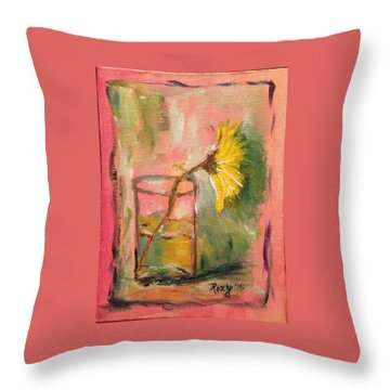 Yellow Daisy In A Glass Throw Pillow