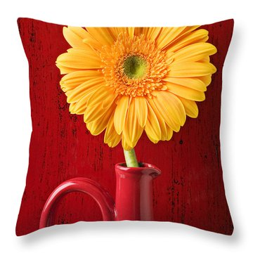 Yellow Daisy In Red Vase Throw Pillow by Garry Gay