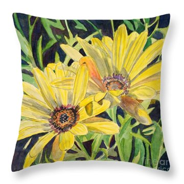 Throw Pillow featuring the painting Yellow Daisy by LeAnne Sowa