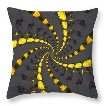 Yellow Daisy Spin Wheel  Throw Pillow