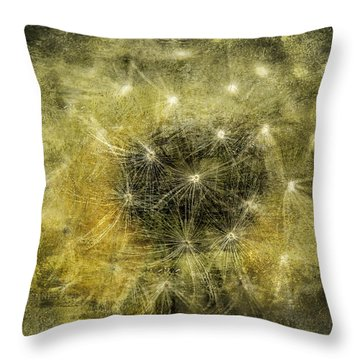 Yellow Dandelion Fluff Throw Pillow
