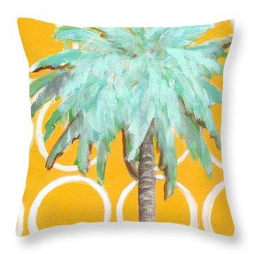 Yellow Delilah Palm Throw Pillow